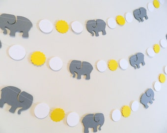 Little peanut Elephant baby shower garland, Elephant birthday banner , Yellow and Gray Elephant banner , your color choices