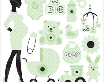 pregnancy pregnant baby clip art clipart digital - Chic Pregnancy Digital Clip Art (Green)
