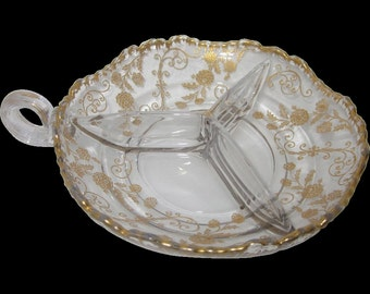 Old Cambridge Glass Elaine Gold Etch 3 Part Relish Nappy Loop Bowl