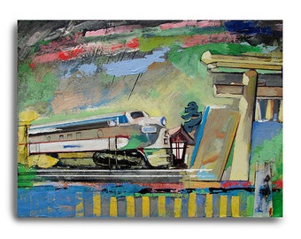 Train55, train painting, oil painting on wood panel, landscape painting,