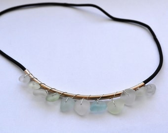 Clearance Sale Sea Glass Bib Necklace with stretchable band to be converted for a headband