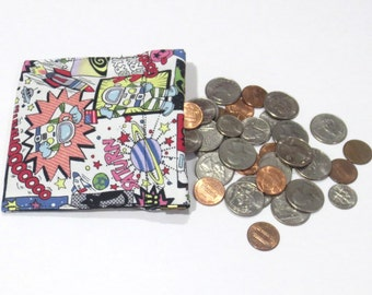 Space, Robots, Aliens, coin purse, pinch pouch, change pouch, change purse, pouches, wallet, money pouch