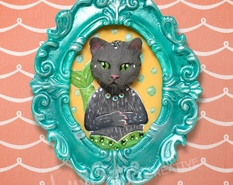 50% OFF SALE! Fine Art Print - MerCat - Mermaid Cat Cameo Faux Taxidermy Kitty Cat Portrait Cat Art Kitten Art 8x10 or 5x7 Archival Print