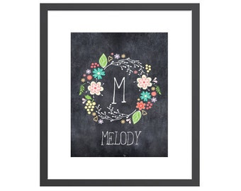 Personalized art print chalkboard floral wreath name wall decor for nursery or girl's room. Perfect baby shower gift for new moms!
