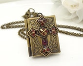 Antique book locket necklace, dark red vintage style gothic cross necklace, antique bronze red gothic jewelry