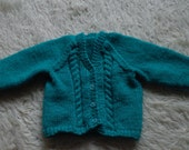 Hand Knitted Emerald Green Baby's Cardigan 0 to 6 months