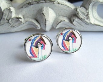 Custom Cufflinks, Your Childs Drawing Cufflinks, Custom Gift For Dad