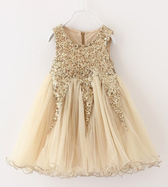 Gold Sequin Flower Girl Dress Gold Sequin By BabicakesCouture