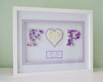 Personalised Button Monogram Box Frame - Wedding, Anniversary or Engagement Gift