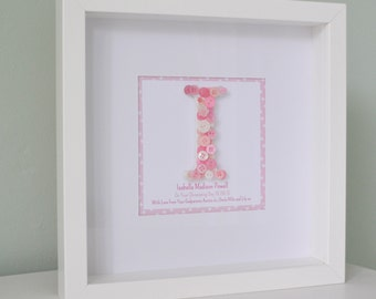 Personalised Nursery Button Monogram Box Frame - Christening, Birth, Birthday Gift