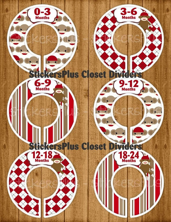 Baby closet dividers organizers assembled or by stickersplus for Baby clothes size organizer