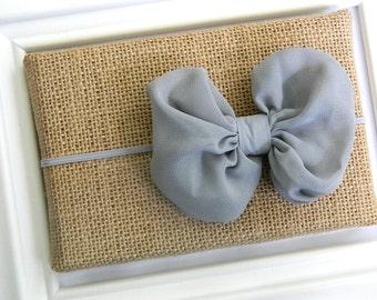 Grey Chiffon Bow Headband, Baby Headband, Infant Headband, Grey Bow Headband