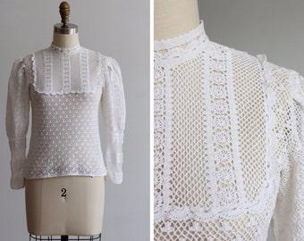 1970s Crochet Tramo Switzerland Blouse