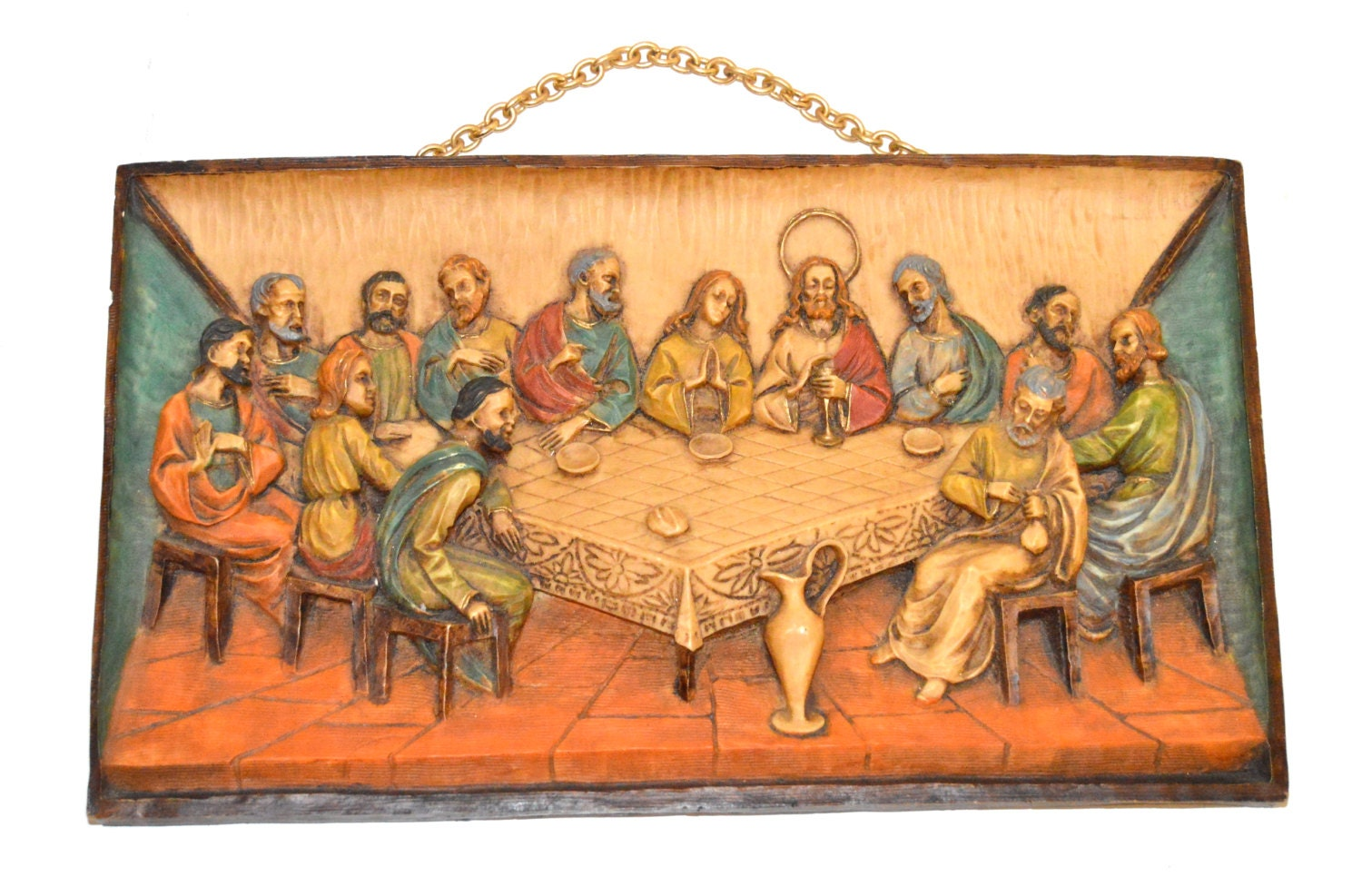 the last supper wall plaque vintage wall hanging 3 dimensional. Black Bedroom Furniture Sets. Home Design Ideas