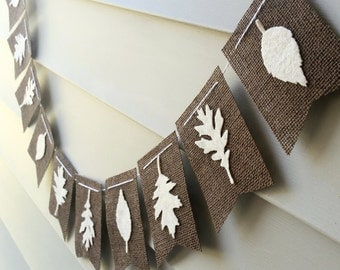 SALE Fall Felt Leaves on Dark Brown Burlap Bunting