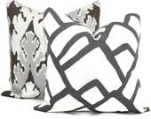 Schumacher Charcoal Zimba Decorative Pillow Cover, 20x20 22x22 Eurosham, Lumbar pillow Toss Pillow, Accent Pillow, Throw Pillow