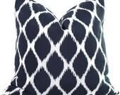 Blue and White Ikat  Decorative Pillow Cover 18x18, 20x20, 22x22, Eurosham, Lumbar Pillow, Accent Pillow, Throw Pillow, Toss Pillow
