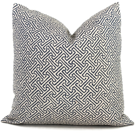 Queen Throw Pillows : Quadrille Blue Java Java OUTDOOR Pillow Cover Square or Lumbar