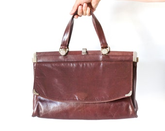Doctor Style Briefcase - Leather Handbag - Vintage Dark brown