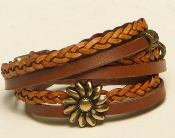 Leather Wrap Bracelet, Chocolate Leather Wrap, Whirly Wrap, natural braided leather, brass sunflower, secure brass magnet, for 7 inch wrist