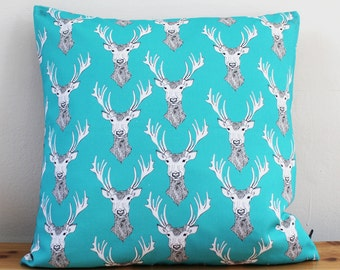 Stag Cushion - stag pillow - blue cushion -  pillow cover - handmade cushion - deer cushion - blue cushion - pillow cover - cushion cover