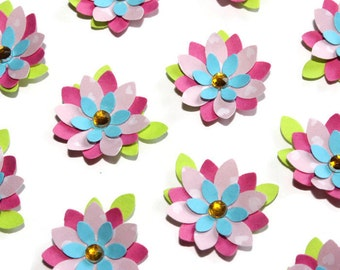 Blue and pink flowers - set of 12 (F223)