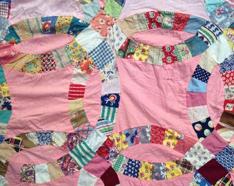 Vintage quilt top, double wedding ring quilt, hand stitched quilt