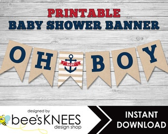 Nautical Baby Shower Banner Anchor Oh Boy Banner Printable Bunting Banner