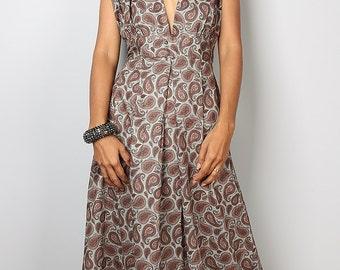 Bohemian Paisley Dress - Sleeveless Summer Dress  - Funky Maxi Dress : Oriental Secrets Collection