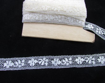 Vintage Light Ivory Nylon  Lace, Vintage Lace, Vintage Craft Supplies, French Lace