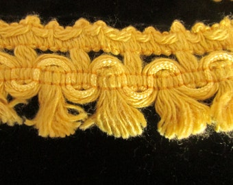 Vintage Gold  Cotton Fringe Trim Yardage, Vintage Edging, Vintage Sewing Supplies, Vintage Pillow Edging, Vintage Craft Supplies