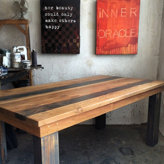 Grey natural reclaimed wood dining table made in by for Reclaimed wood in los angeles