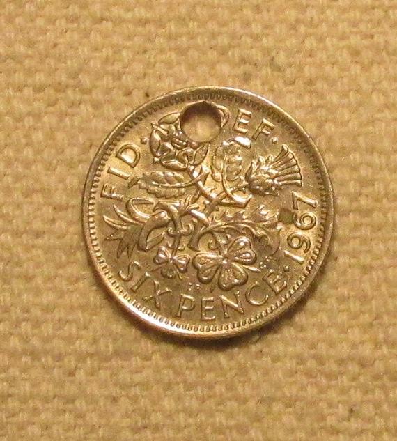 6 Pence Wedding Gift : holed 1967 Great Britain Wedding 6 pence, British sixpence world coin ...