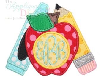 Back to School Momogram Apple and Supplies Digital Embroidery Design Machine Applique
