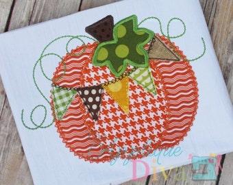 Halloween Pennant Pumpkin Digital Embroidery Design Machine Applique