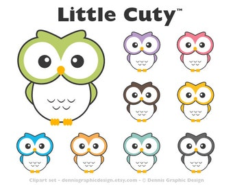 Owl Clipart Set Personal and Commercial Use Clip Art Graphics