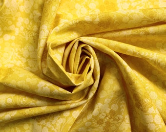 Yellow quilting cotton, marigold cotton fabric, sunshine yellow quilting cotton, yellow floral fabric, UK quilt supplies shop