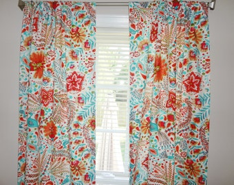 Curtain Panels Dena Peaceful Perch Curtain Panels Blue Peacock Coral Flower  All Sizes