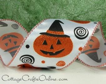 "Halloween Wired Ribbon, 2 1/2"" , Jack O'Lantern Orange & Black Glitter - THREE YARDS -  ""Jack in a Hat""  Pumpkin Wire Edged Ribbon"
