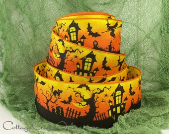 "Halloween Wired Ribbon, 2 1/2""  Haunted House, Witch, Black Cat - TEN YARDS -  ""Graveyard Night""   Wire Edged Ribbon"