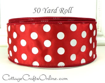 """Christmas Wired Ribbon, 2 1/2""""  wide, Red and White Polka Dot - FIFTY YARD ROLL -  """"Peppermint Dot"""", Valentine  Wire Edged Ribbon"""
