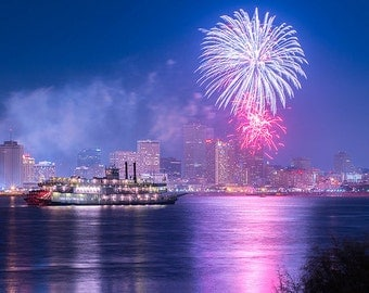 New Orleans Skyline, Mississippi River, Fourth of July Fireworks, New Years Eve Fireworks, Urban Landscape, Architecture, Crescent City