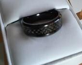 SALE! Black Titanium Band Ring with Black Carbon Fiber Inlay, Men's Wedding Ring, 8mm Titanium Band, Fashion Ring, Wedding Band