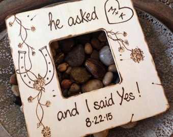 Engagement Custom Wood Frame 'he asked and I said YES' Personalized with Date and Carved Initials in Heart and Horseshoe