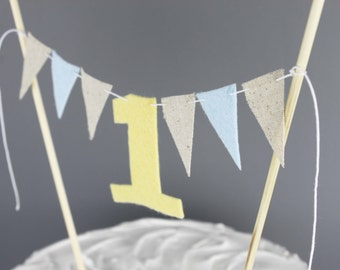 Pastel Yellow, Blue and Beige First Birthday Cake Sign, Rustic Farm Theme Cake Bunting Banner, Number One Cake Topper, Custom First Birthday