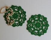"Mini Crochet Doily Pair - Green - Lacy Small Mini 6"" - Set of 2"