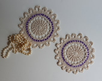 "Mini Crochet Doily Pair - Ecru Purple Lavender - Lacy Small Mini 6 1/2"" - Set of 2"