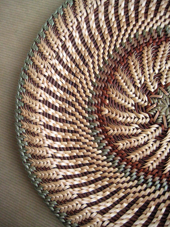 Tiss en osier plaque r colte tableau pie plateau rustique for Decoration murale osier