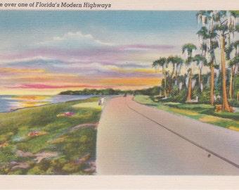 Florida, Modern Highway, Sunrise - Linen Postcard - Unused (R)