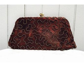 Vintage 1970s Brown Beaded Clutch Bag